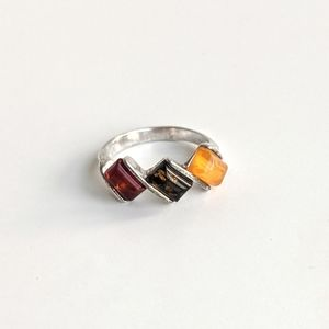 Amber Sterling Ring Size 5 - Tri-colour Amber